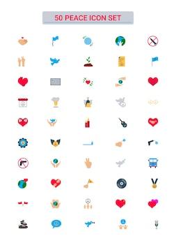 평면 스타일에서 설정 50 평화 아이콘의 다채로운 컬렉션입니다.