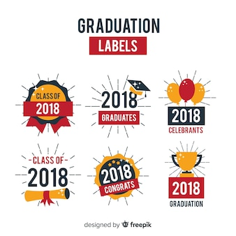 Colorful collection of graduation badges
