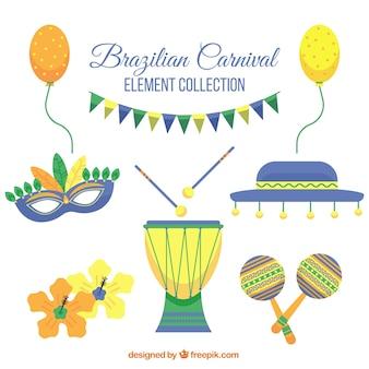 Красочная коллекция изделий, готовых к бразильского карнавала