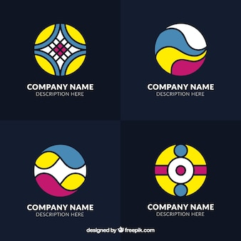 Colorful collection of round logos