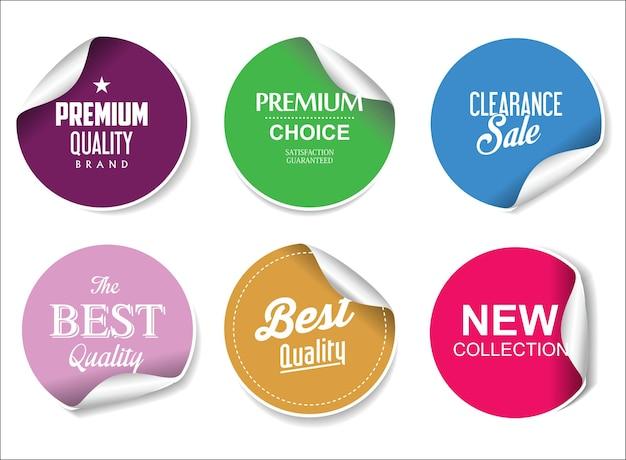 판매 품질 배지 및 스티커의 다채로운 컬렉션