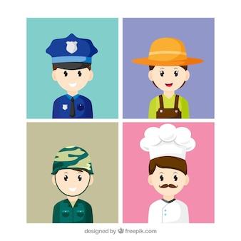 Collezione colorata di avatar di professionisti