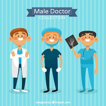 Colorful collection of smiley doctors