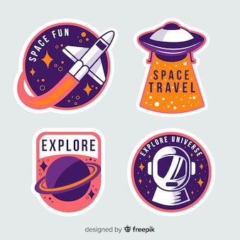 Colorful collection of space stickers