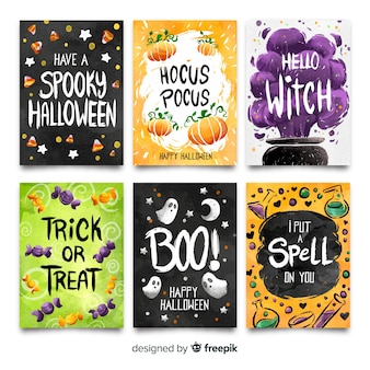 Colorful collection of watercolor halloween card