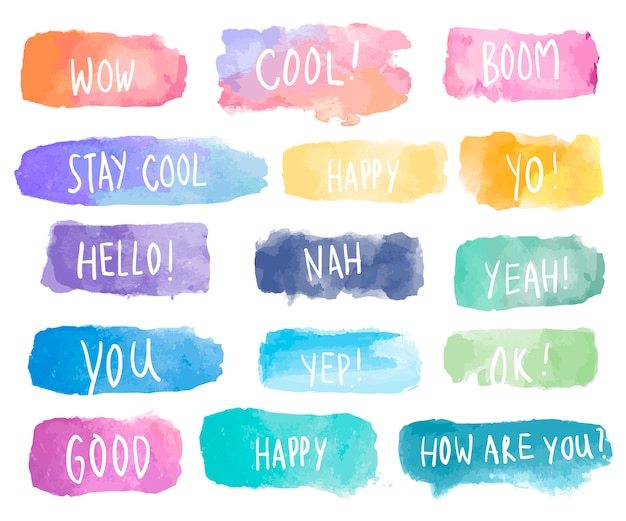Colorful collection of watercolor patches vector