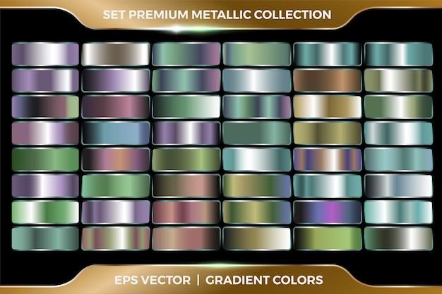 Коллекция красочных комбинаций градиентов большой набор шаблонов металлических палитр