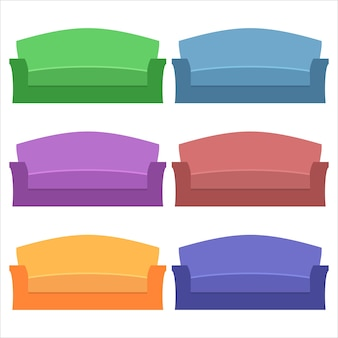 Colorful comfortable long sofas element icon game asset flat illustration