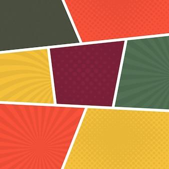 ポップアートスタイルのカラフルな漫画ページの背景。光線とドットパターンの空のテンプレート。ベクトルイラスト