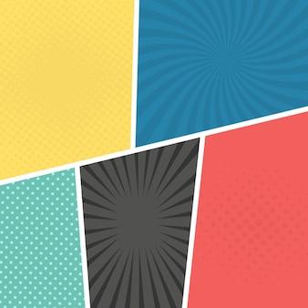 팝 아트 스타일의 다채로운 만화 페이지 배경. 광선 및 점 패턴이 있는 빈 템플릿입니다. 벡터 일러스트 레이 션