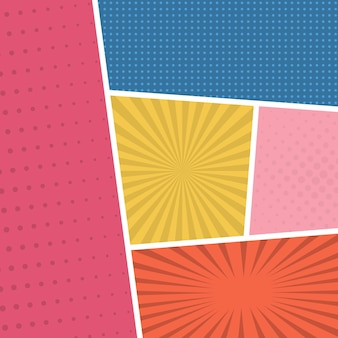 Colorful comic book page background in pop art style. empty template with rays and dots pattern. vector illustration