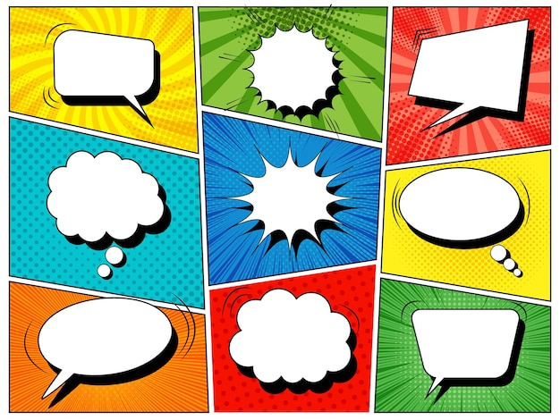 Colorful comic book template with blank white speech bubbles of different shapes in pop-art style.