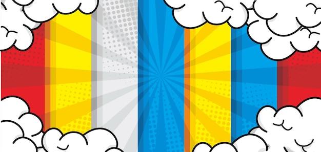 Красочный комикс мультфильм фон с облаком