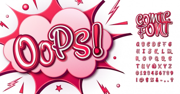 Colorful comic font. cartoon pink alphabet in pop art style