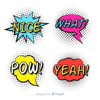 Colorful comic speech bubbles collection