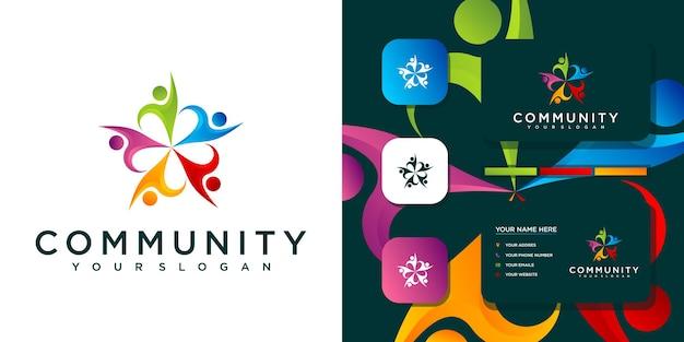 カラフルなコミュニティのロゴテンプレートと名刺のリファレンス。