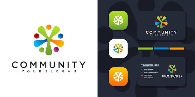 Colorful community logo template and business card reference.