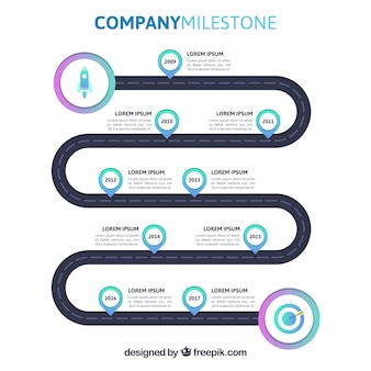 Colorful company milestones with flat design