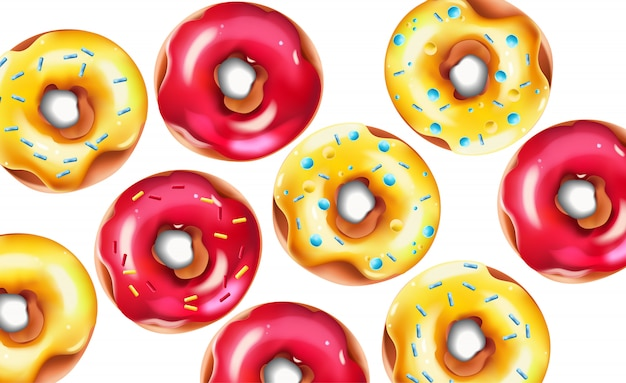 Colorful composition with glazed pink and yellow sprinkled doughnuts