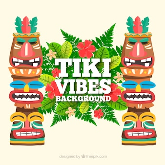 Colorful composition with tiki totems and plants