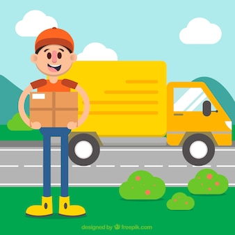 Colorful compostion with deliveryman and truck