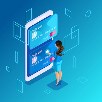 Colorful concept on a blue background, management of online credit cards, business lady manages the transfer of money from card to card on smartphone