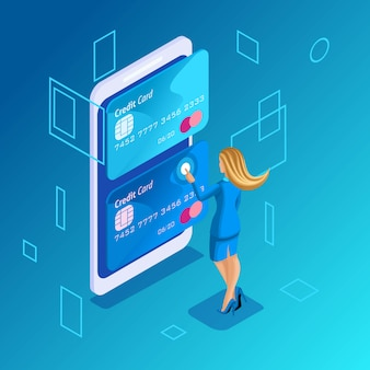 Colorful concept on a blue background, management of online credit cards, online women manages money transfer from card to card on smartphone employer