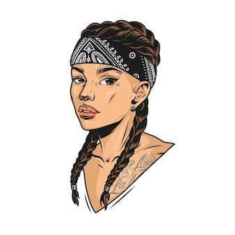 빈티지 스타일의 고립된 삽화에서 땋은 머리 치카노 문신과 두건을 가진 예쁜 라틴계 소녀의 다채로운 개념