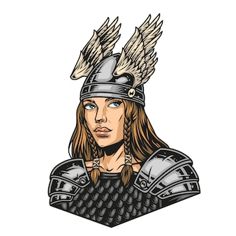 Colorful concept of pretty viking woman in metal armor and helmet with wings in vintage style isolated vector illustration