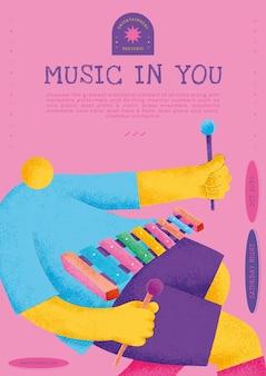 シロフォン奏者ミュージシャンフラットグラフィックとカラフルなコンサートポスターテンプレートベクトル