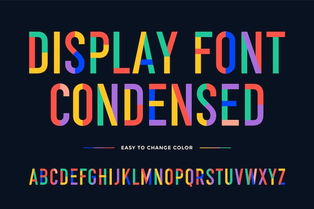 Colorful condensed alphabet and font. uppercase  letters.
