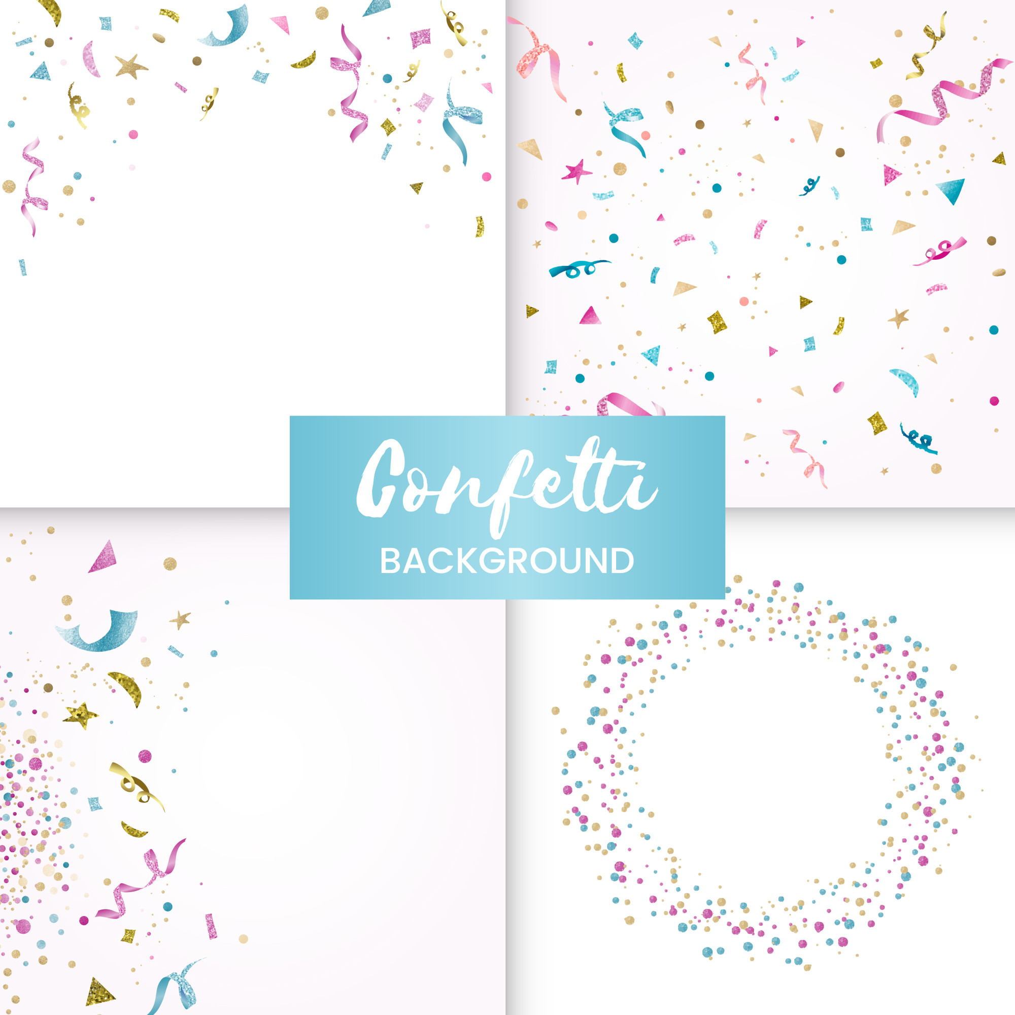 Colorful confettcelebratory design collection