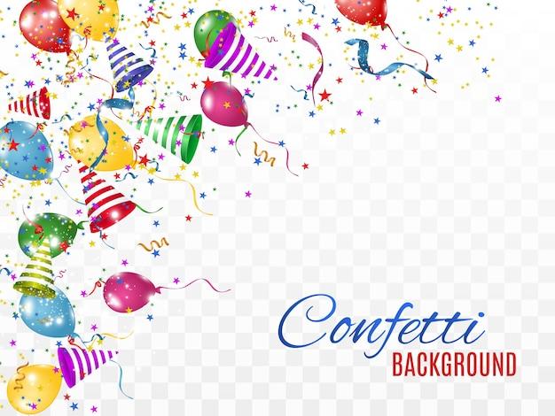 Красочные конфетти и шары изолированы. праздничный фон. с днем рожденья. день отдыха.