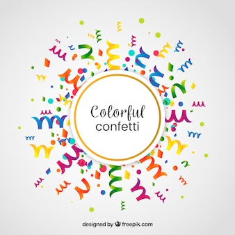 Colorful confetti background in flat style