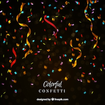 Colorful confetti background in realistic style