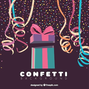 Colorful confetti background with gift box in flat style