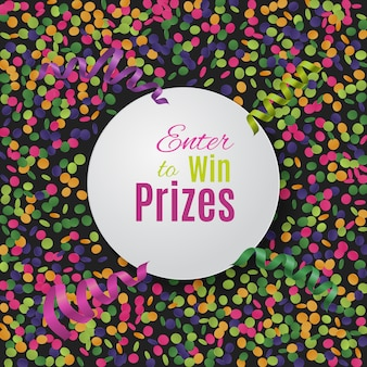 Colorful confetti background with round plate.