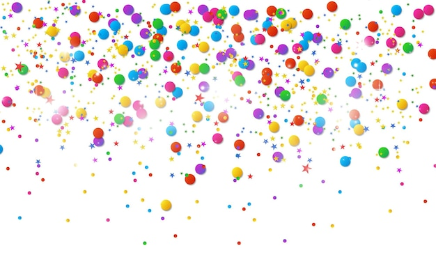 Colorful confetti and balls isolated festive background vector happy birthday holiday