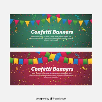 Colorful confetti banners with decorative pennants