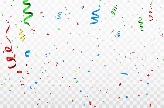 Colorful confetti celebration carnival ribbons.