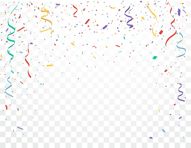 Colorful confetti celebrations design isolated on transparent background