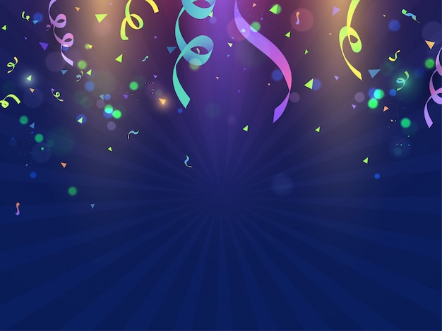 Colorful confetti decorated blue rays background