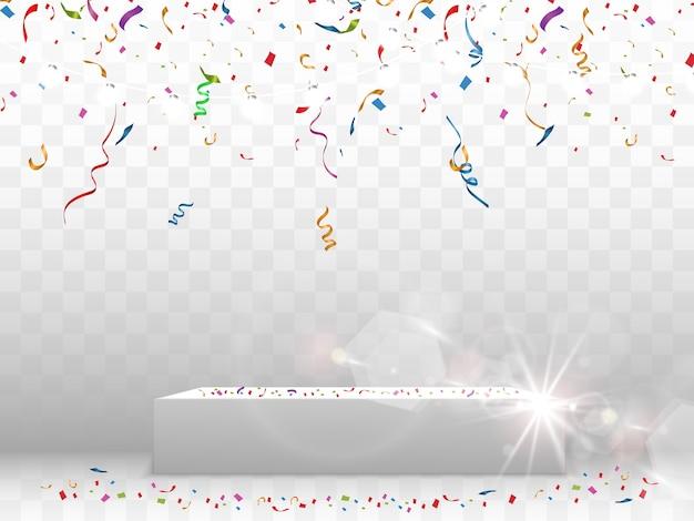 Красочное конфетти. праздничный фон вектор. с днем рождения. день отдыха.