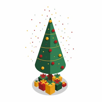 Colorful confetti and festive christmas tree with gifts