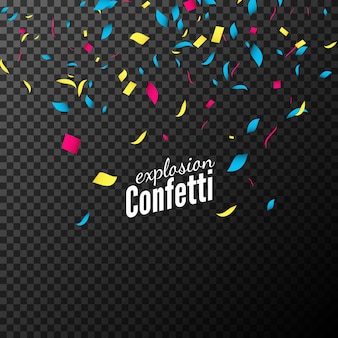 Colorful confetti isolated on dark background