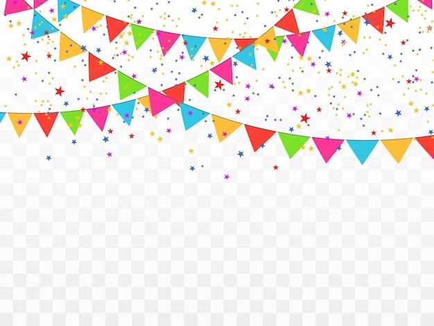 Красочные конфетти изолированы. праздничный фон. с днем рожденья. день отдыха.