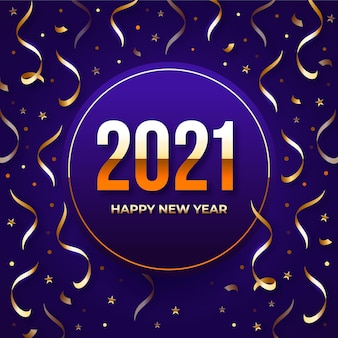 Colorful confetti new year 2021 background
