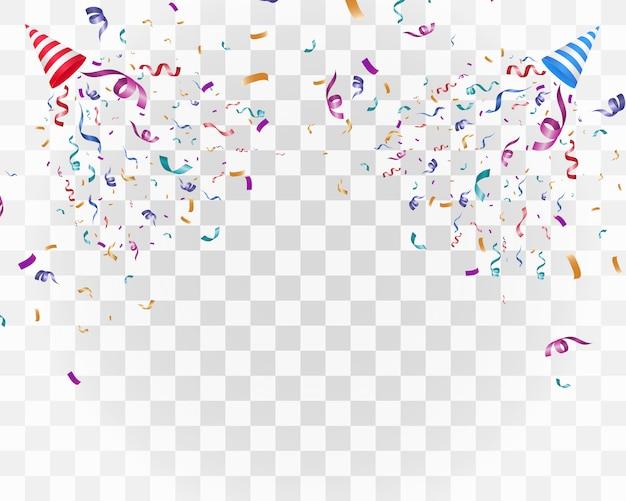 白地にカラフルな紙吹雪。お祭りの陽気な背景。紙吹雪とコーン。