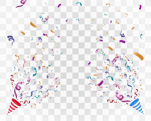 白地にカラフルな紙吹雪。お祝い陽気なベクトルの背景。紙吹雪とコーン。
