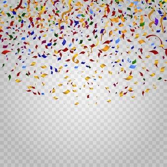 체크 무늬 배경에 화려한 색종이. 파티 및 휴일, 생일 카니발, 축하 장식, 축제 이벤트, 디자인 리본. 벡터 일러스트 템플릿